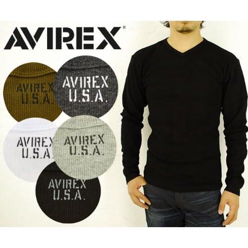 (アビレックス) AVIREX Vネック長袖Tシャツ (6153480 旧品番617394) S ホワイト:01