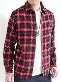 (オークランド) Oakland 起毛 フランネルシャツ シャツ チェックシャツ トップス カジュアル MODE きれい目 メンズ レッドネイビー×チェック Lサイズ