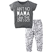 9d28e28514a4 BIG ELEPHANT Unisex Baby 2 Pieces Graphic Short Sleeve Shirt Pants Set