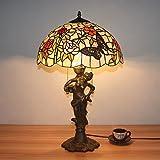 16インチヴィンテージラグジュアリークリエイティブベースの蝶と咲く花ティファニースタイルのステンドグラスのテーブルランプのベッドサイドランプ