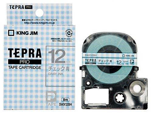 キングジム テープカートリッジ テプラPRO SWX12BH チェック青 グレー文字