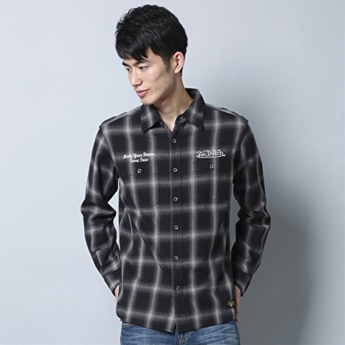 (ボンダッチ) Von Dutch刺しゅうワークシャツ メンズ ブラック L