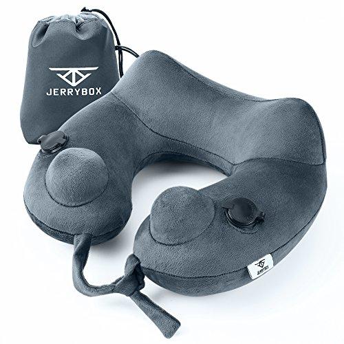 Jerrybox ネックピロー 二つポンプ空気入れ 15秒で膨らませる エアーピロー 旅行便利グッズ 携帯枕 トラベルピロー 空気枕 (グレー)