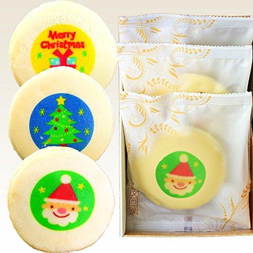 クリスマス イラスト入り もっちり白いどら焼き 3個入り
