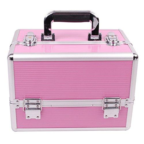 [プロ仕様]Hapilife メイクボックス 大容量 4つトレイ 幅30cm 中型 ネイル アクセサリー 化粧品 メイク道具 収納ボックス ピンク