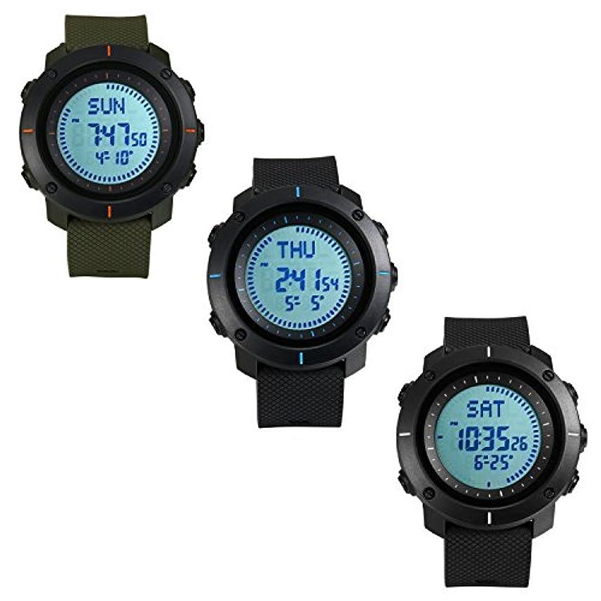 ただやる写真の爵腕時計 メンズ デジタル スポーツウォッチ 5気圧防水 コンパス アラーム カレンダー ストップウォッチ 12/24 時間制 カウントダウン 夜光 アウトドア トレッキング最適 (3点セット)