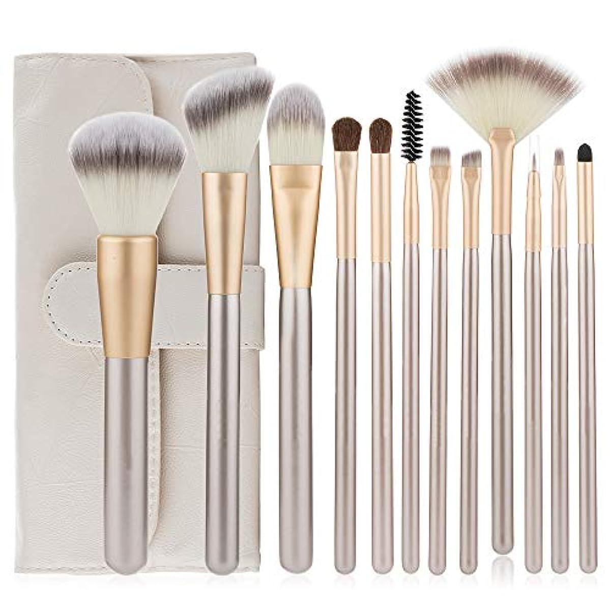 適度な精巧なイサカ化粧筆 高級天然毛 アイシャドウブラシセット 12本 上質なメイクブラシで魅力的な目元を 化粧ブラシブラシキットプロの化粧品で化粧キット (シャンパン)