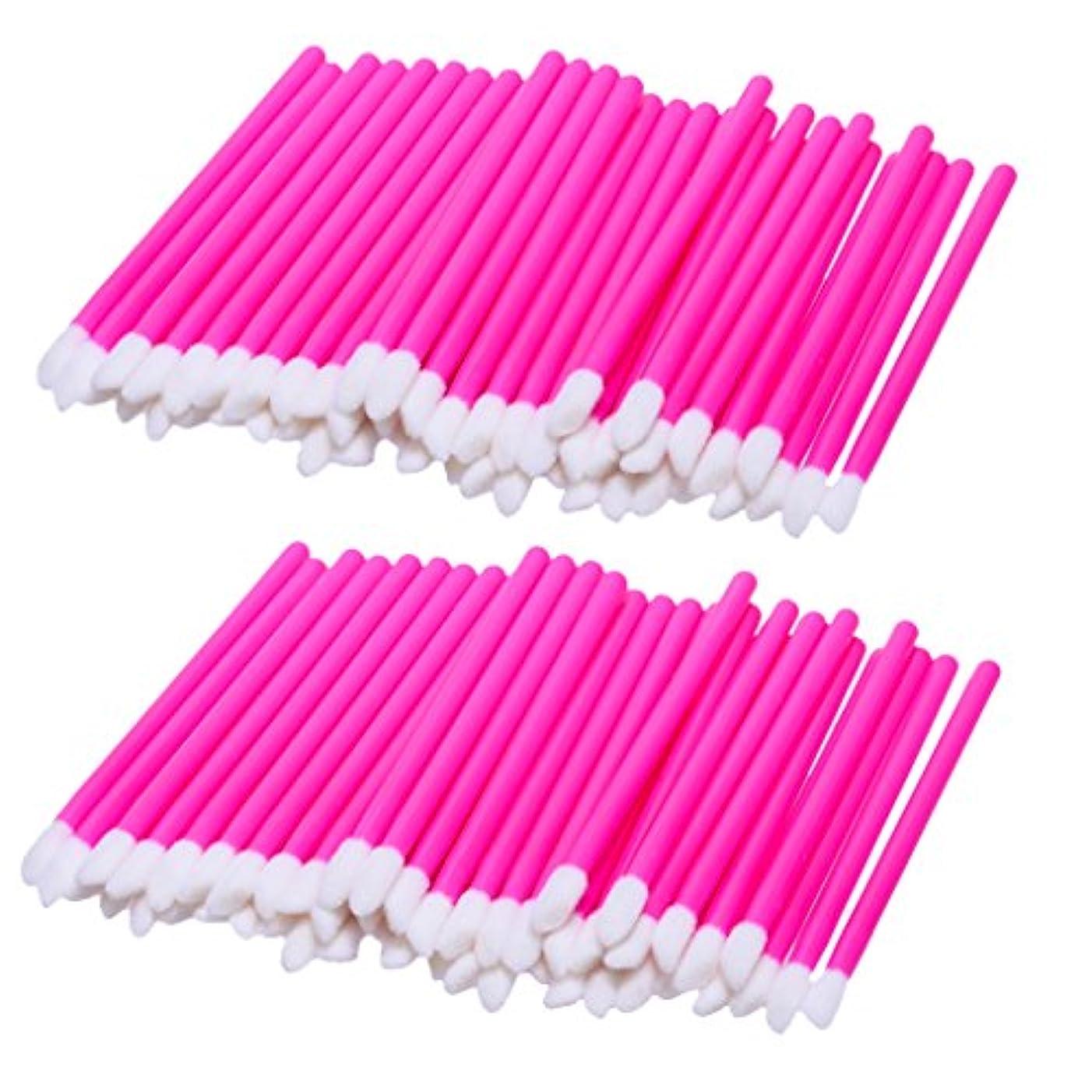 慣れる戦闘噴出するリップブラシ 使い捨て 携帯用 便利 化粧リップ 業務用 約100ピース入り 柔らかい毛 軽量 全3色 - ピンク
