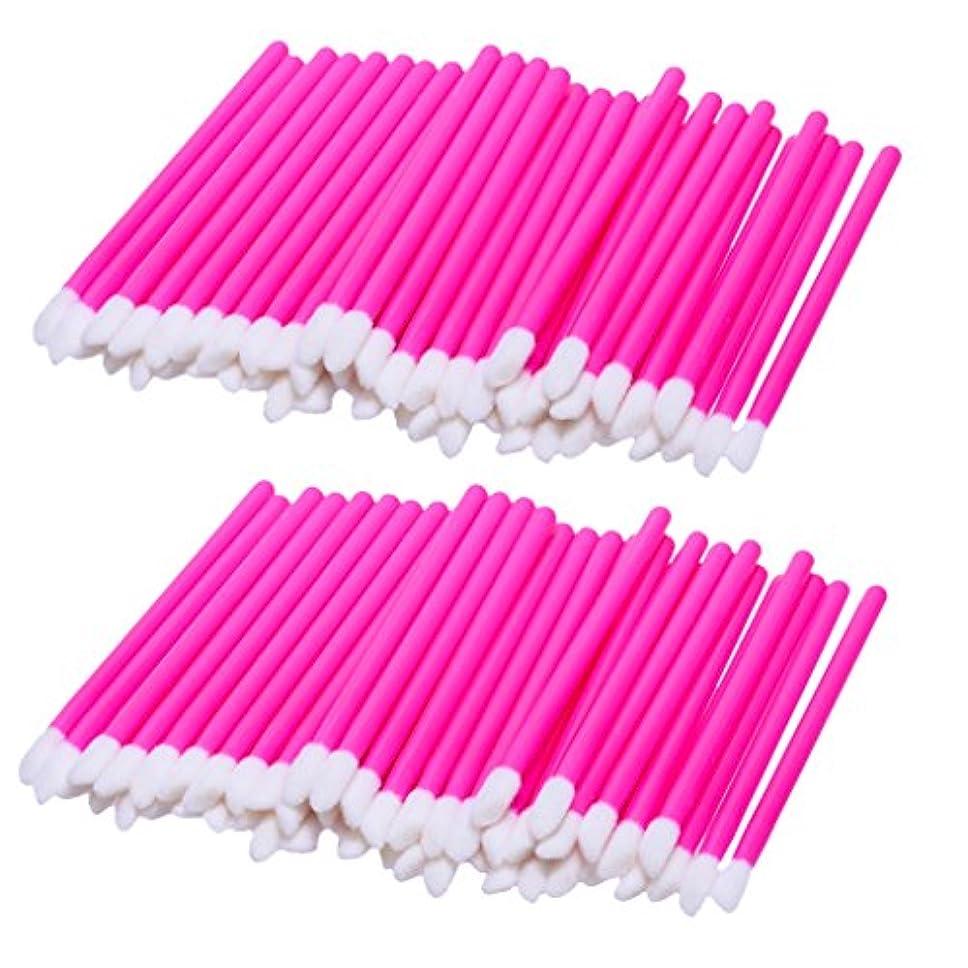 給料定期的に取得リップブラシ 使い捨て 携帯用 便利 化粧リップ 業務用 約100ピース入り 柔らかい毛 軽量 全3色 - ピンク