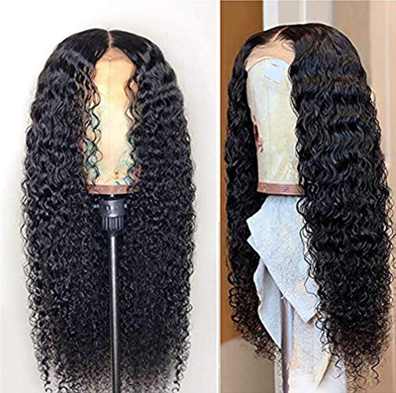 対人攻撃的ベテラン女性150%密度フロントレースかつら耐熱合成長い髪の合成かつら側部かつら