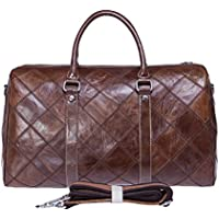 Genda 2Archer Men's Vintage Leather Lattice Weekend Duffle Bag Travel Luggage Bag