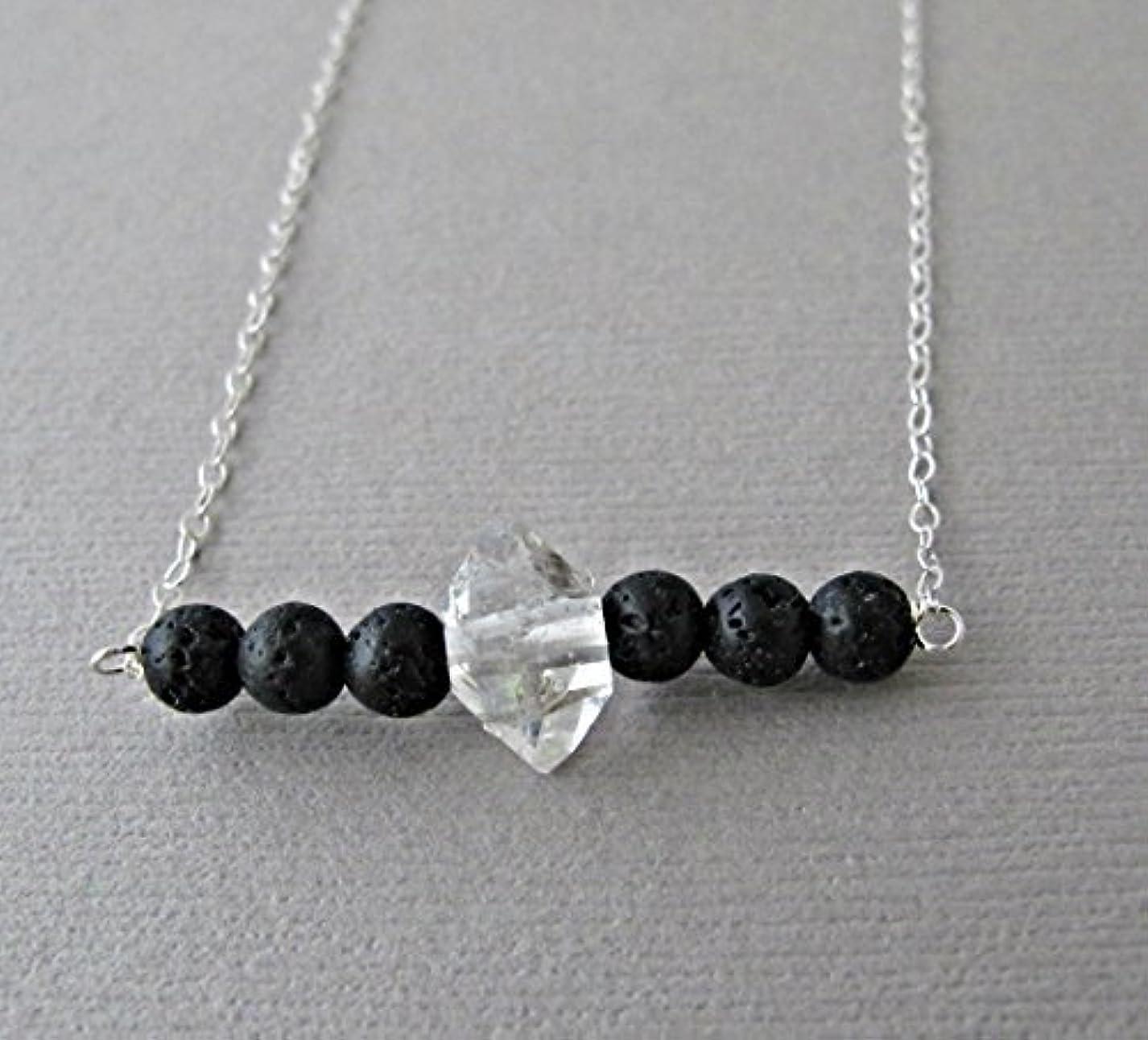 ペチュランス絶滅した洗練Herkimer Diamond Lava Pendant Essential Oil Necklace Diffuser Aromatherapy - Simple Minimalist Lava Bead Diffuser...