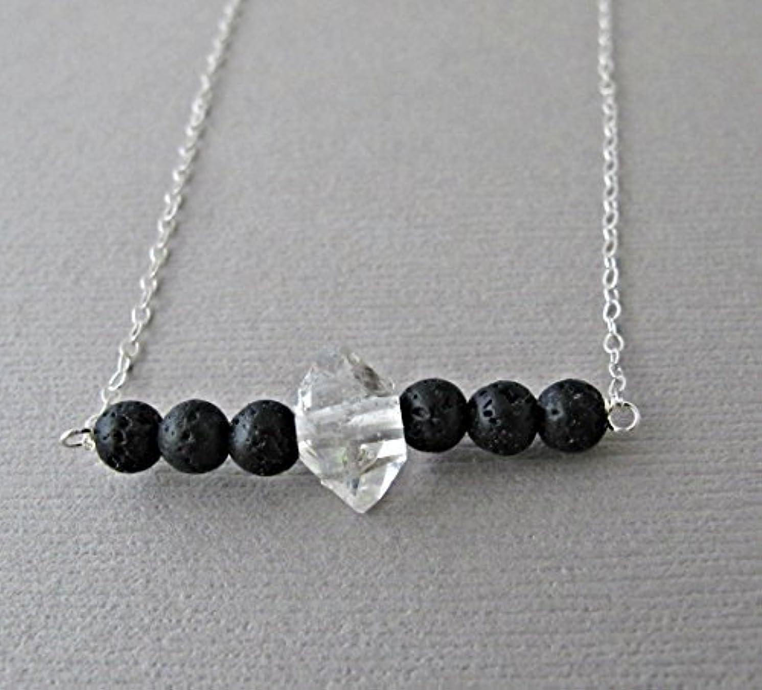 謙虚好み名目上のHerkimer Diamond Lava Pendant Essential Oil Necklace Diffuser Aromatherapy - Simple Minimalist Lava Bead Diffuser...