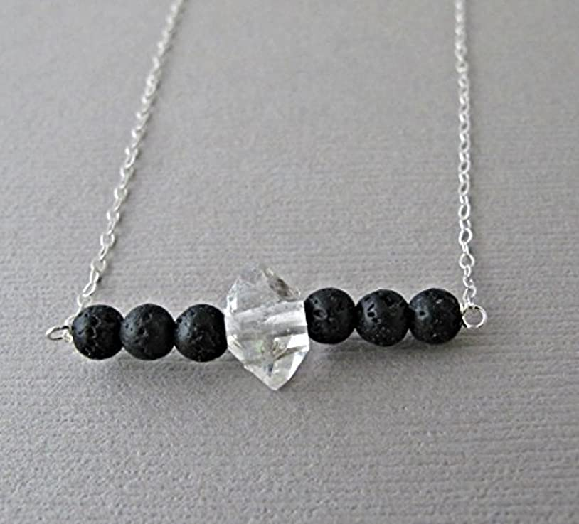 将来の宿泊原子Herkimer Diamond Lava Pendant Essential Oil Necklace Diffuser Aromatherapy - Simple Minimalist Lava Bead Diffuser...