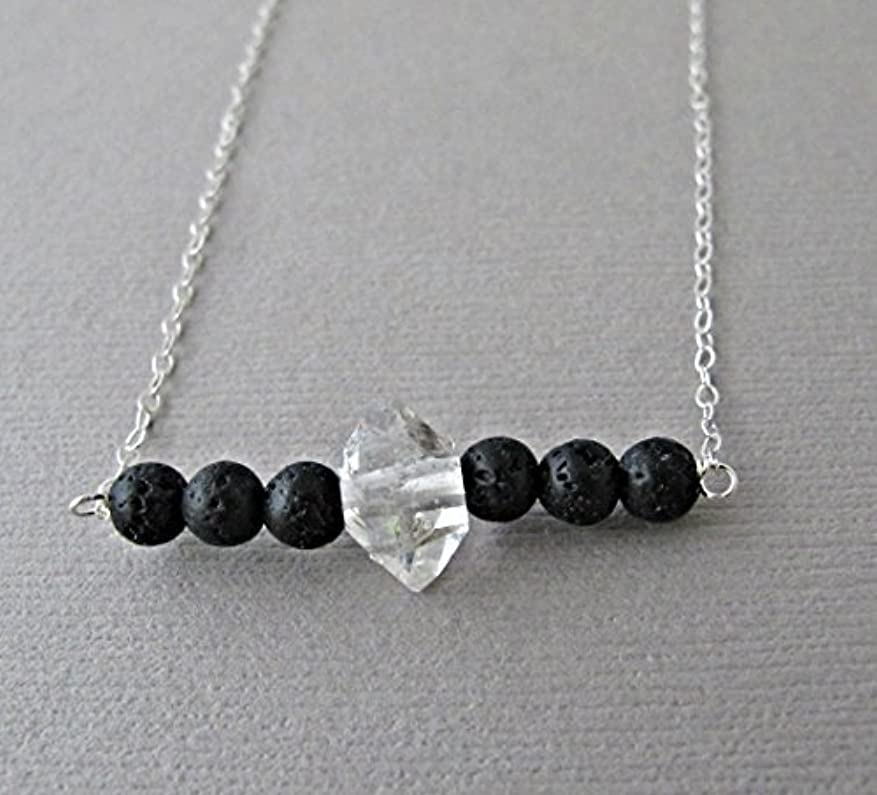 ラジエーターミル矩形Herkimer Diamond Lava Pendant Essential Oil Necklace Diffuser Aromatherapy - Simple Minimalist Lava Bead Diffuser...