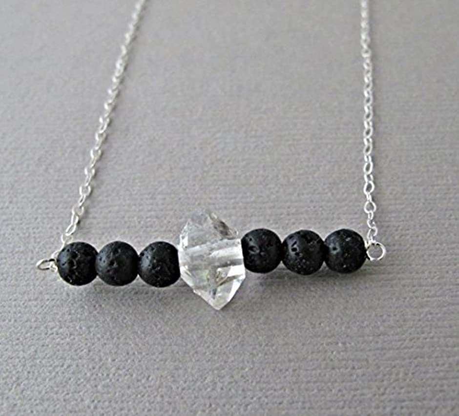熱狂的な仮定する記念碑Herkimer Diamond Lava Pendant Essential Oil Necklace Diffuser Aromatherapy - Simple Minimalist Lava Bead Diffuser...
