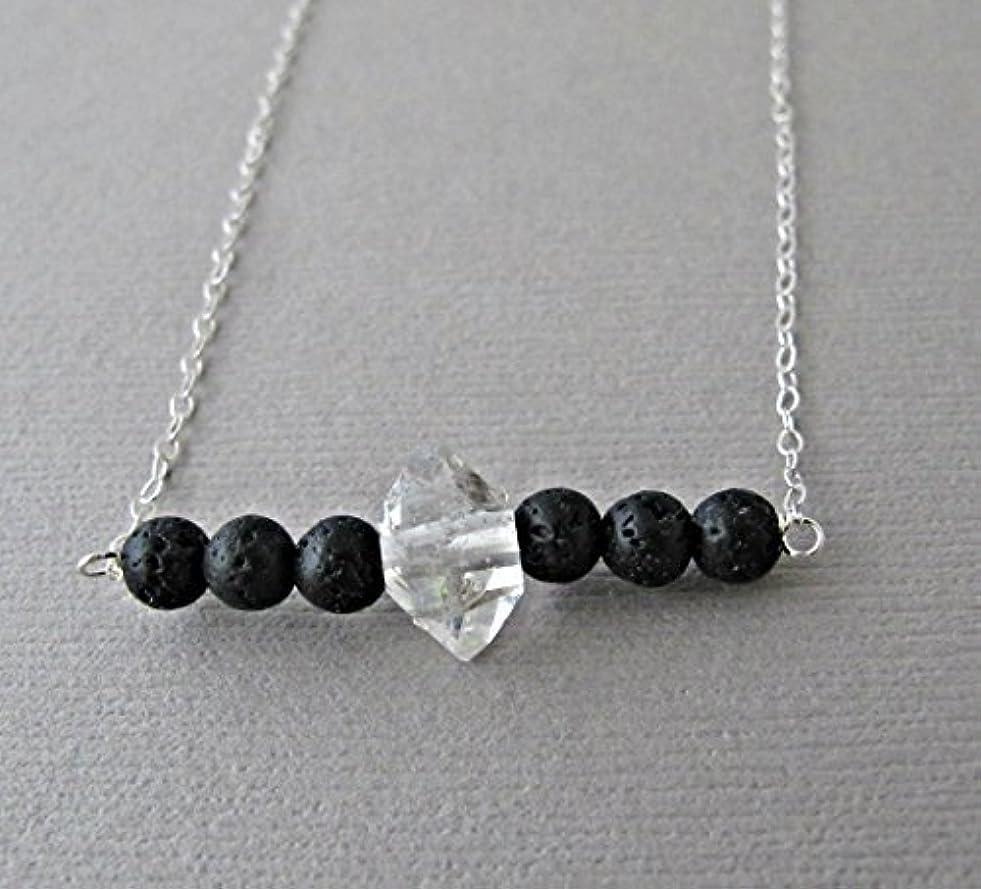 踏み台順応性のあるタフHerkimer Diamond Lava Pendant Essential Oil Necklace Diffuser Aromatherapy - Simple Minimalist Lava Bead Diffuser...