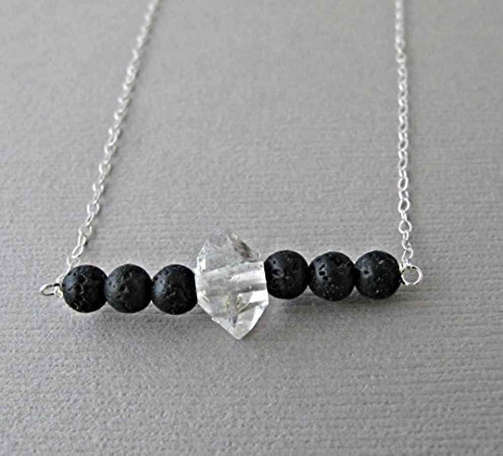 悲観主義者ビリーヤギ応援するHerkimer Diamond Lava Pendant Essential Oil Necklace Diffuser Aromatherapy - Simple Minimalist Lava Bead Diffuser...