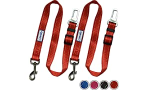 Zenify Dog Car Seat Belt Seatbelt Lead Puppy Harness - Heavy Duty Adjustable Carseat Clip Buckle Leash for Dogs Puppies Pets Travel - Pet Safe Collar Accessories Supplies Truck Safety (Red 2 Pack)