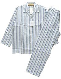 Lサイズ[春夏] 紳士長袖?長ズボンパジャマ(Amour アムール メンズ) 麻100%リネン テーラー襟/全開