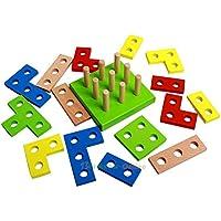 okokmall US --木製DIY教育建物ブロック幾何図形ベビーキッズクリスマスおもちゃ