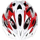 FEYCH クールスタイル|超軽量 高剛性|自転車用 サイクリング ヘルメット|頭囲52~61cm|アジャスターサイズ調整可能 (レッド&ホワイト)
