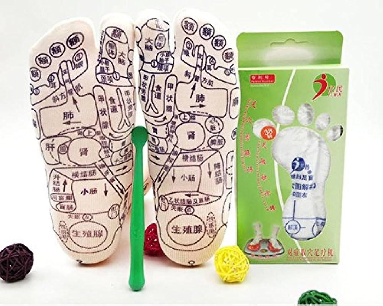 前提条件弓心理的MNoel 健康 足裏 足ツボ プリント ソックス ツボ押し スティック付き 足つぼ くつした 靴下 反射区 サイズ23~26センチ 中国語簡易説明書付き