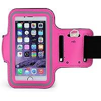 MOPO スポーツアームバンド 防汗/可調節 スマホ携帯用 ランニングアームバンドiPhone/Android対応(ピンク)