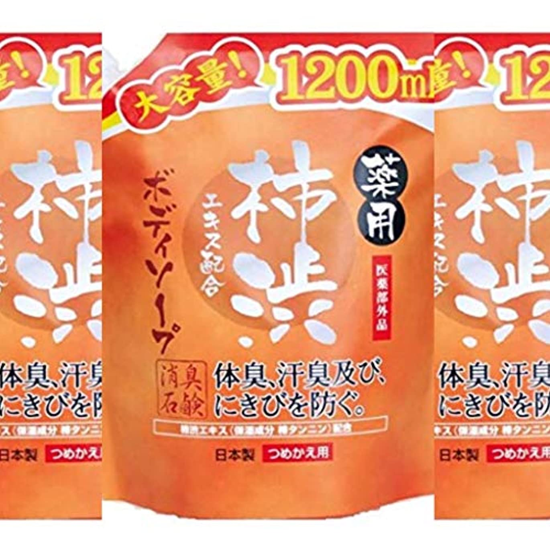【セット品】薬用柿渋 ボディソープ 大容量 (つめかえ用) 1200mL 【医薬部外品】×3個