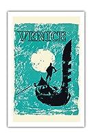 ヴェネツィア、イタリア - ヴェネツィアゴンドラ - ビンテージな世界旅行のポスター c.1960 - プレミアム290gsmジークレーアートプリント - 61cm x 91cm