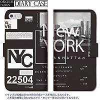 chatte noir Galaxy S7 edge ケース Galaxy S7 edge カバー ギャラクシー S7 edge ケース 手帳型 おしゃれ ニューヨーク NY NYC ロゴ モノクロ 白黒 かっこいい B 手帳ケース SUMSUNG
