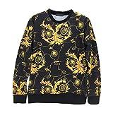 (ピゾフ)Pizoff メンズ トレーナー (L Y1078 18)春秋 黒 Tシャツ 長袖 モード系 おしゃれ ファッション 花柄プリント 総柄 快適 トップス プルオーバ