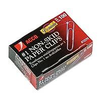 Acco : Nonskidプレミアムペーパークリップ、ワイヤ、1号、シルバー、100/ボックス、10ボックス/パックの2パックとして販売–: -–1000–/–Total of 2000各