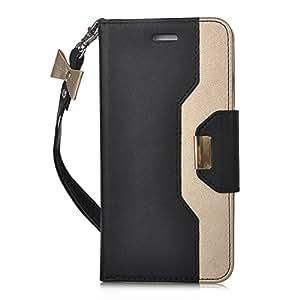 iPhone7 plus ケース,【ELTD】 iPhone7 plus カバー iPhone 7 plus 上質ケース+財布一体型 プレミアムレザー 化粧鏡 ミラー 付き ちょう結び 可愛い手帳型ケース 財布/カードスロット&スタンド機能 ストラップ付き 横置き 携帯電話に全面保護型ケース(ブラック)