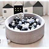 FUNTRESS Ball Pit Pool for Toddlers Memory Foam Soft Round Mini Pool for Baby Kids Gift for Toddlers Light Grey