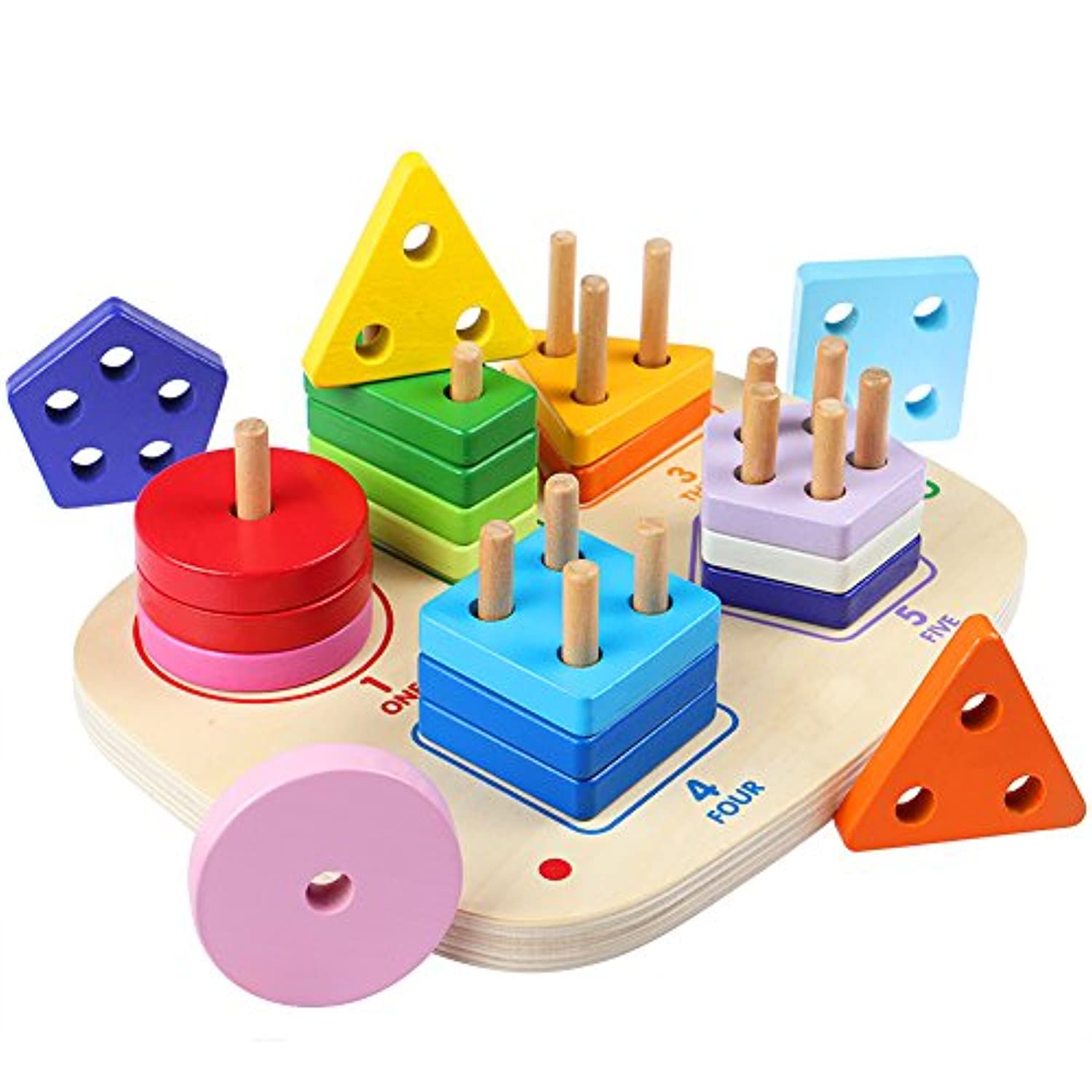 Lewo Wooden Educational Preschool Shapes Puzzle Toddler Toys Stacking Sorting Blocks Games for Kids