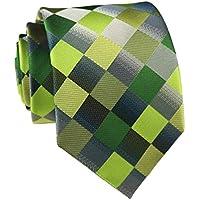 Elfeves Men's Designer Plaid Checks Ties Patchwork Diamond Patterned Neckties