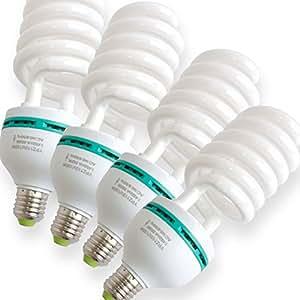 写真撮影用照明 蛍光灯スパイラル電球 4個セット 5500K E26口金 トルネードバルブ