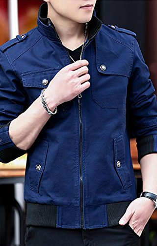 メンズ コート 春秋 薄韓 詰め襟 レジャー 長袖 デニムジャケット 修身 ビジネス カジュアル 無地 ポケットを付け ファッション ディープブルーT1