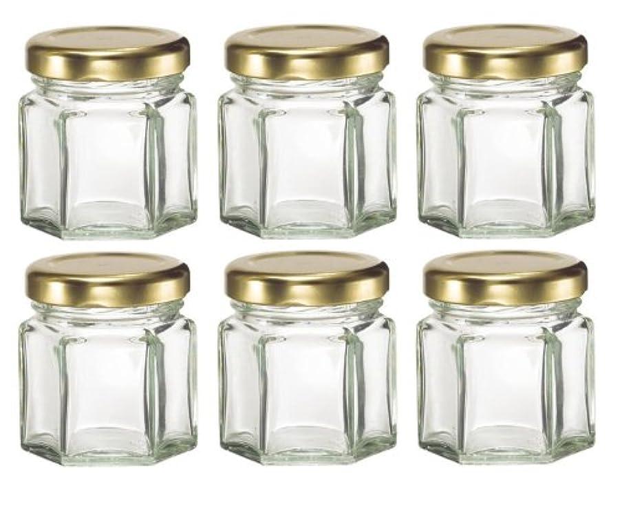 少しガチョウ前進1-1 / 2など、キャンドル、蜂蜜のためlids-オンス(1.5オンス)HEX 6六角ガラスJars-