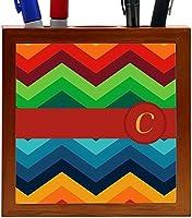 Rikki Knight Letter C Initial on Zig Zag Design 5-Inch Tile Wooden Tile Pen Holder (RK-PH45864) [並行輸入品]