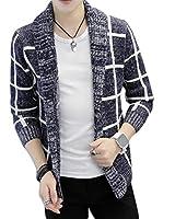 ZhongJue(ジュージェン)メンズ カーディガン ニット 春 ボタンなし チェック柄 ニットアウター 韓国ファッション 大きいサイズ(10ネイビー)