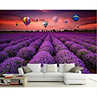 Mrlwy カスタム壁紙壁画パストラルラベンダー熱気球装飾絵画の背景壁の壁紙-400X280cm