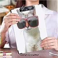クリップボードメモ型サイズ低プロファイルクリップ アイデア多機能メニュー白い背景で隔離の大きな特大赤いサングラスを身に着けているクールな猫の面白い動物の肖像画 (1個)