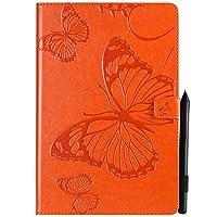JDDR タブレットケース、 蝶の花の花柄PUレザーウォレットスタンドタブレットケースサムスンギャラクシータブS4 10.5インチ2018モデルSM-T830 / T835 (色 : 黄)