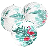 Easy Joy ハワイアン風 紙提灯 風船 インテリア 誕生日 結婚式 ベビーシャワー ホームパーティー 飾り付け 直径25cm 3個セット (フラミンゴ01)