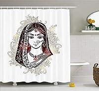 Yeuss結婚式のシャワーカーテン、花とペイズリーの伝統的なブライダルドレスの民族の女性、布生地浴室装飾セットフック、ダークブラウン朱色ココア