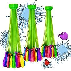 Winhi 水爆弾 水風船 111個(3束X37) 222個(6束X37)水を入れて投げ合う 暑い夏の水遊びに 子供のおもちゃ 60秒以内に一気に膨らませて縛る 【ハンドル部分の色ランダムです】