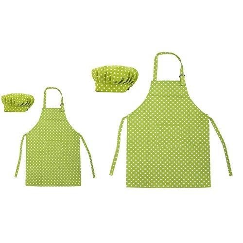 Opromo 多色 子供用 コットンキャンバス エプロン+帽子 ポケット付き(1セットの価格) - グリーン ドット 親子ペア - L