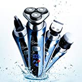 HATTEKER Cordless Mens Electric Razor Waterproof 4 in 1 Rotary Shavers for Men Professional Beard Trimmer USB Rechargeable Nose Hair Trimmer Facial Cleaning Brush-Men's Gift Box